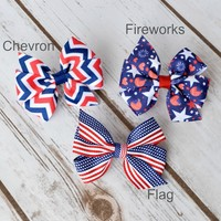 3 inch pinwheel hair bows for you little ones 4th of July outfits. Three styles hairbows on alligator clip, snap clip or barrette with no slip grip