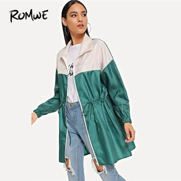 ROMWE Green Zipper Up Drawstring Color Block Rain Coat Womens Jackets And Coats Casual Clothing Going Out Outerwear