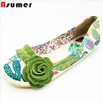 ASUMER 2016 new arrive fashion Ballet Flats cloth light women flat shoes woman flower female shoes size 34-43