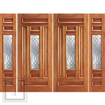 Prehung Mahogany Center Lite Home Double Door Two Sidelights