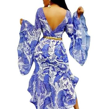Blue Flowers Print Swallowtail High-low Backless Bell Sleeve Maxi Dress