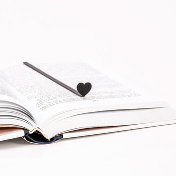 Bookmark HEART laser cut metal powder coated black Stylish unique gift for book lover Free shipping.