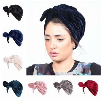 Women Velvet Rabbit Ears Turban Head Wrap Indian Hijab Hat Solid Color Cap Headwear Hair Accessories Solid Bandanas C25