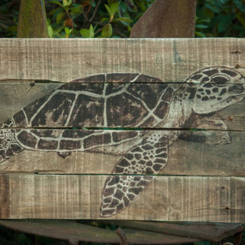 Sea Turtle Pallet Wood Art Rustic Beach Decor Lake House Art Coastal Living Style Beach house Decor Surf shop ocean art pallet wood painting