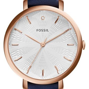 Women's Fossil 'Jacqueline' Round Leather Strap Watch, 36mm - Navy/ Rose Gold