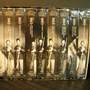 "Vintage Time Life ""The Civil War"" 9 VHS Collector's Set Tapes Series Directed By Ken Burns"