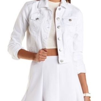 White Refuge Cropped White Denim Jacket by