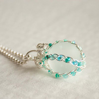 Turquoise Braided Marble Necklace, Seaglass, Bridal, Wedding, Gifts under 30