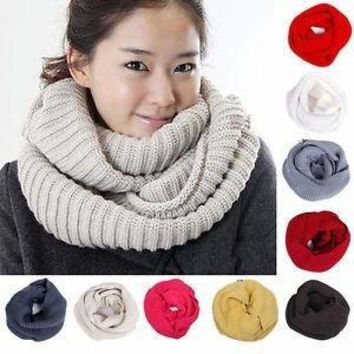 Unisex Winter Warm Infinity Scarf Shawl (12 colors available)