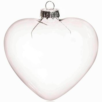 Promotion - DIY Paintable Transparent Christmas Decoration, 90mm Glass Heart Ornament With Silver Cap, 5/Pack