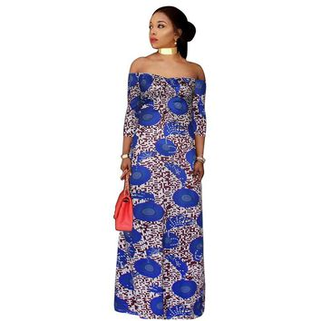 2017 African women Clothing plus size print long dresses maxi dress Africaine off shoulder summer vetsidos robe de soiree
