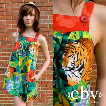 Vintage 80s Floral Tiger Print Mini Tent Dress S M