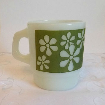 60s Fire King Green Daisy Mug Vintage Anchor Hocking Mid Century Cup MilkGlass Mod Flower Mug Dish Kitchen Collectible Home Decor Houseware