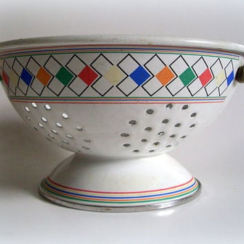 Vintage Kitchenware White Enamel Colander with Colorful Geometric Design