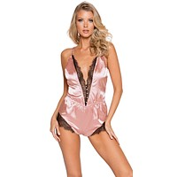 Sexy Unwrap Me Satin and Eyelash Lace Pink Romper