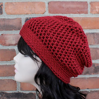 Hand Crocheted Hat The Brooklyn Slouchy Beanie in Autumn Red - Fall Fashion Winter Fashion