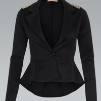 Black Long Sleeve Blazer with Spike Stud Embellishment
