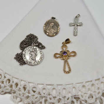 Vintage Sterling Silver Religious Items Crosses Crucifixes St. Christopher Medal Virgin Mary Medal Destash Lot  Includes CREED silver