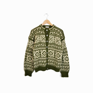 Vintage Nordic Norwegian Cardigan Sweater in Green & Cream Wool - women's medium
