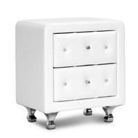 Baxton Studio Stella Crystal Tufted White Upholstered Modern Nightstand Set of 1