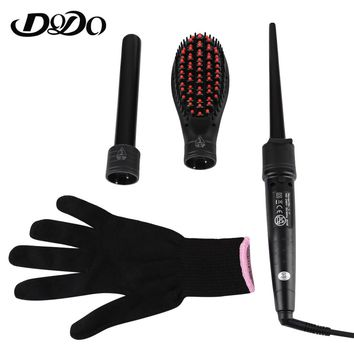 DODO Electric 3 in 1 Dual Use Multifunction Ceramic Curling Iron Hair Curler Straightener With 2 Curling Wand EU & US Plug