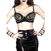 Atomic Black Punk Skeleton Bra Top and PVC Skirt Set