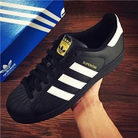"""Adidas"" Fashion Shell-toe Flats Sneakers Sport Shoes Black-white line"