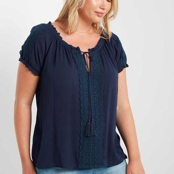 Isolla Lace Up Peasant Top
