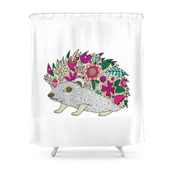 Society6 Woodland Hedgehog Illustration Shower Curtains