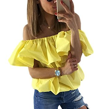Woman Chiffon Shirt Blouse 2017 Summer Style Ruffle Off Shoulder Top Woman Candy Color Butterfly Sleeve White Shirt Casual Loose