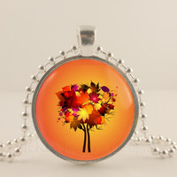 """Fall maple tree, 1"""" round glass and metal Pendant necklace Jewelry."""