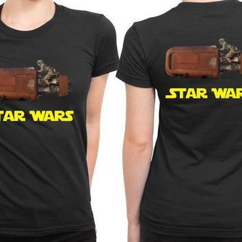 ESBH9S Star Wars The Force Awakens Traditional Transportation 2 Sided Womens T Shirt