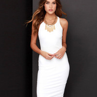 White Sleeveless Slit Back Bodycon Dress