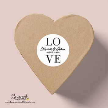 Personalized Wedding Stickers, Love Sticker, Modern Wedding, Custom Wedding Labels, Wedding Favor Labels, Round Wedding Favor Sticker