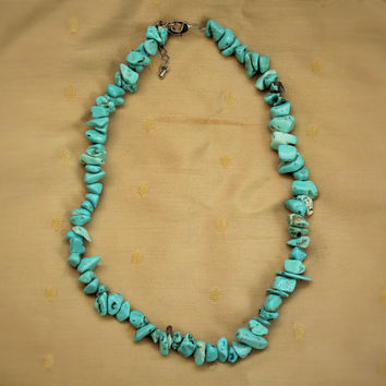Vintage Hippie Boho Turquoise Beaded Necklace