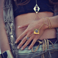 MOONBEAM Handcrafted Brass Druzy Hand Chain