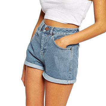 BONJEAN Europe Blue Crimping Denim Shorts For Women 2017 Summer New Brand Trendy Slim Casual Plus Size Womens High Waist Shorts