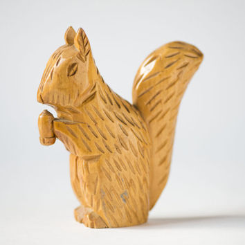 Vintage squirrel wooden handmade squirrel with acorn brown home decor forest squirrel carved
