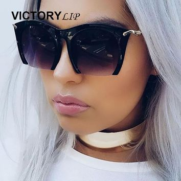 Cat Eye Flat Top Oval Mirror Sunglasses Fashion Brand Design Retro Lady UV400 Sun Glasses de sol VictoryLip New Arrival Women