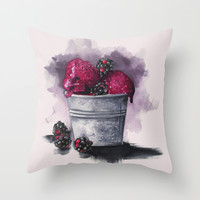 Blackberry Ice Cream,Watercolor illustration  Throw Pillow by Koma Art