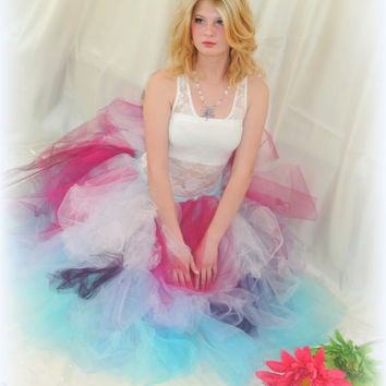 Adult tutu, rave raver tutu, gogo dancer, EDC outfit, steampunk clothes, fantasy fairy outfit, ombre tutu, tea length tutu, sweet 16, prom