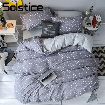 Cool Solstice Home Textile Gray Star Bedding Set Kid Teen Linen King Queen Soft Duvet Cover Pillowcase Bed Sheet Boy Girls BedclothesAT_93_12