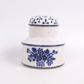 Vintage Midwinter Stonehenge Country Blue Lidded Sugar Bowl England Covered Jar Jessie Tait Earthenware Speckled Glaze Pottery