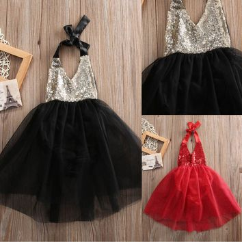 Pudcoco Xmas Flower Girl Sequins Bow Tulle Cake Dress Christmas Baby Party Romper Dresses Sundress 0-2Y