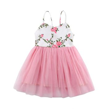 Princess Kids Baby Flower Girls Dress Floral Party Dress Summer Boho Sundress Children Clothes