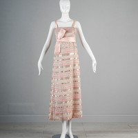 Vintage 60s Marshall Field 28 Shop Pink Brocade Gown Maxi Dress Satin Ribbon Sleeveless Holiday Party