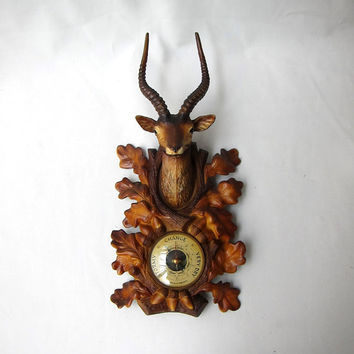 Vintage mid century kitsch deer antelope trophy head barometer gauge from France