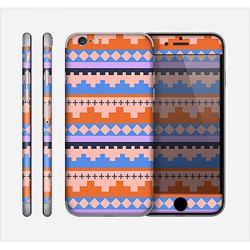 The Pink-Blue & Coral Tribal Ethic Geometric Pattern Skin for the Apple iPhone 6