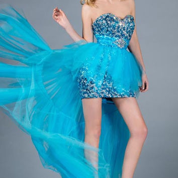 PRIMA C135235 Blue Sequin Tulle High Low Prom Dress