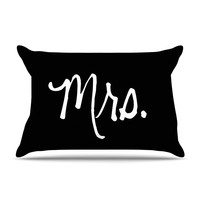 "KESS Original ""Mrs. - Black"" Couples Pillow Sham"